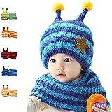 Dark Blue/Light Blue Cute Hat And Scarf Set, Dealzip Inc® Honeybee Stripe Knitted Woolen Plush Warm Earflap Beanie Hat Scarf Set for Baby Infant