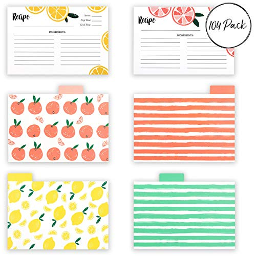 OUTSHINE 104 Pack Bulk Recipe Cards for Recipe Box   Lemon Orange Slice 100 4x6 Blank Recipe Cards and 4 Dividers   Double Sided Thick Card Stock Wont Smear (Fruit)