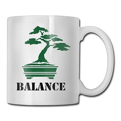 Bonsai Tree Balance Fashion Coffee Cup Porcelain Mugs: Home & Kitchen
