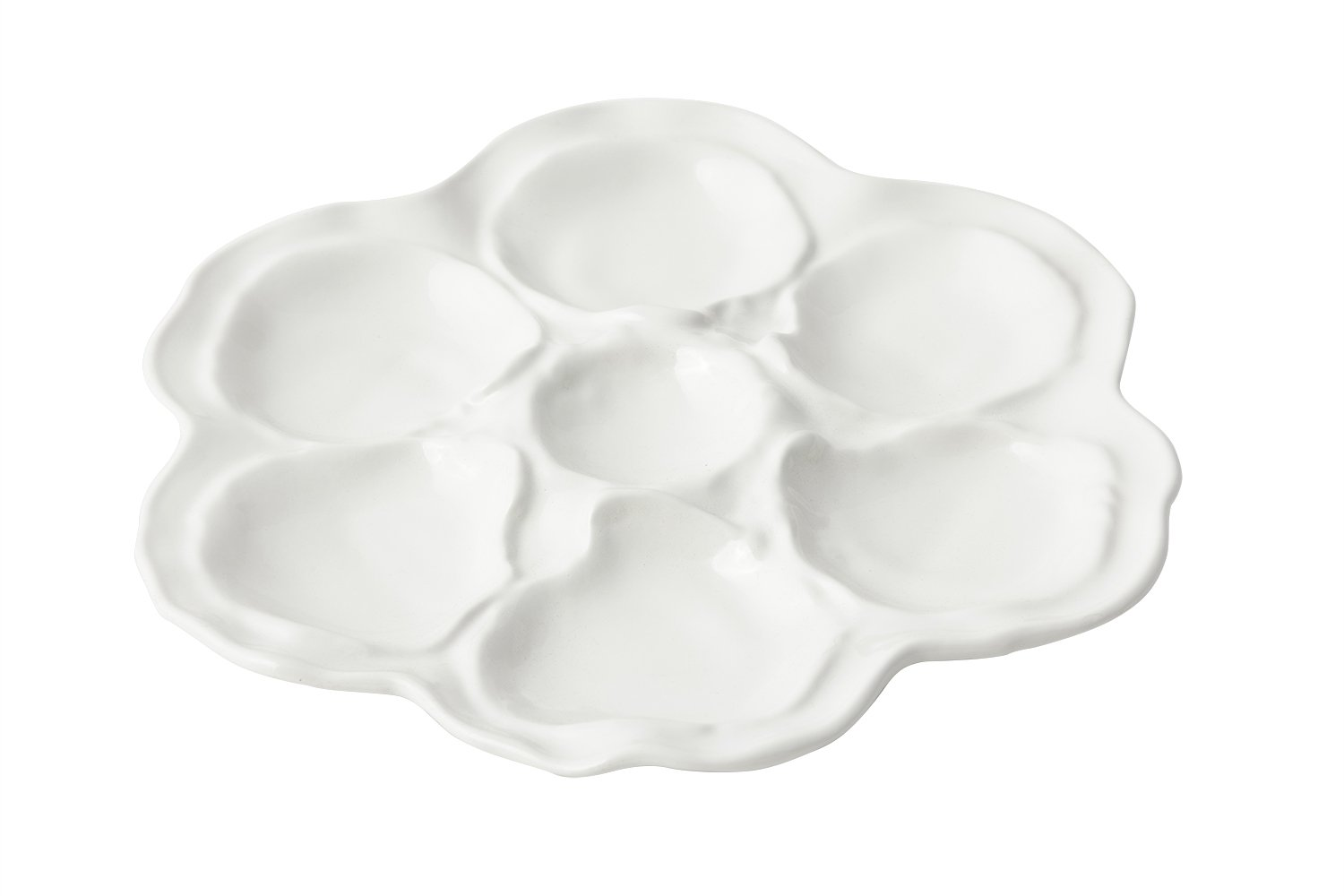 Bon Chef 5079 Aluminum 6 Hole Oyster Plate, 10'' Diameter, Sandstone White (Pack of 6)