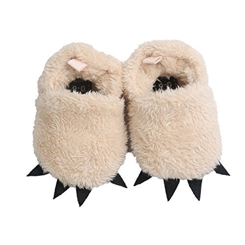 Vanbuy Baby Boys Girls Shoes Bear Paw Animal Slippers Boots Newborn Infant Crib Shoes WB28-Khaki-S