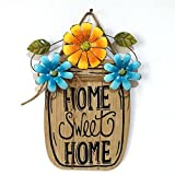 ChainSee Spring Garden Outdoor Home Easter Decoration Flower Wooden Metal Basket Hanging Board (B)