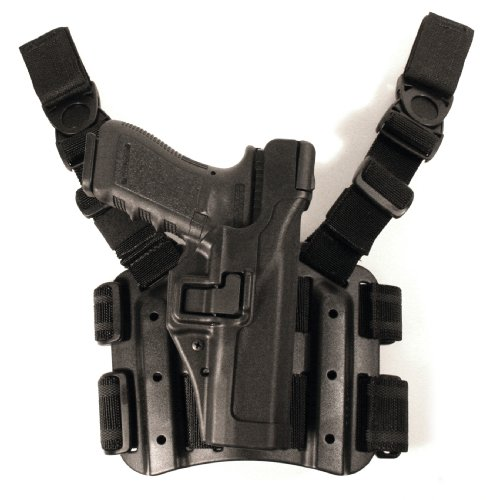 BLACKHAWK! Serpa Level 3 Tactical Black Holster, Size 00, Right Hand (Glock17/19/22/23/31/32) Drop Down Holster