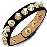 My Daily Styles Black Faux PU Leather Gold Alloy CZ Spikes Snap Wristband Adjustable Bracelet