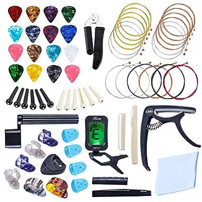 ASPEN BURG 66 PCS Guitar Accessories Kit Including Guitar Strings, Picks, Capo, Thumb Finger Picks, String Winder, Bridge Pins, Pin Puller, Pick Holder, Finger Protect for Beginner