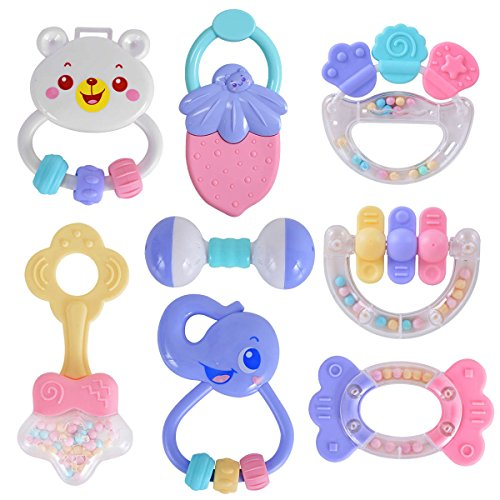 New launch HAHA Child 8pcs Rattles Teethers Set Seize and Spin Shaking Bell Rattle Present Toy Set for Toddler New child Toddler Lady Boy, Sweet Colours  Critiques