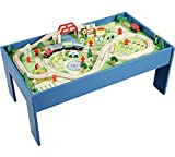 Chad Valley Wooden Table and 90 Piece Train Set. by DesignaFriend
