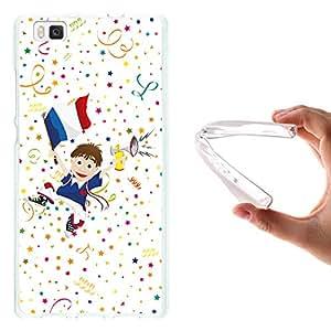 WoowCase - Funda Gel Flexible { Huawei P8 Lite } Aficionado Fútbol Selección de Francia Deporte Carcasa Case Silicona TPU Suave