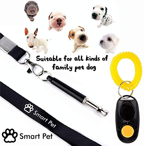 SmartPet Dog Whistle and Clicker Set | Professional Dog Whistle to Stop Barking and Dog Training Clicker | Silent Bark Control for Dogs | Audible to Human | Premium Lanyard and Training Instruction