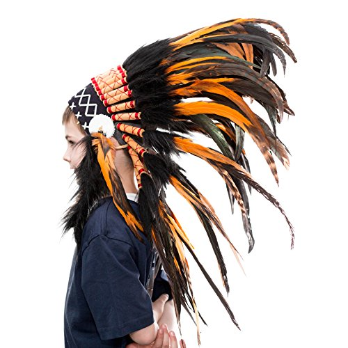 Novum Crafts Kids Feather Headdress | Native American Indian Inspired | Orange (Indian Chief Headdress For Sale)