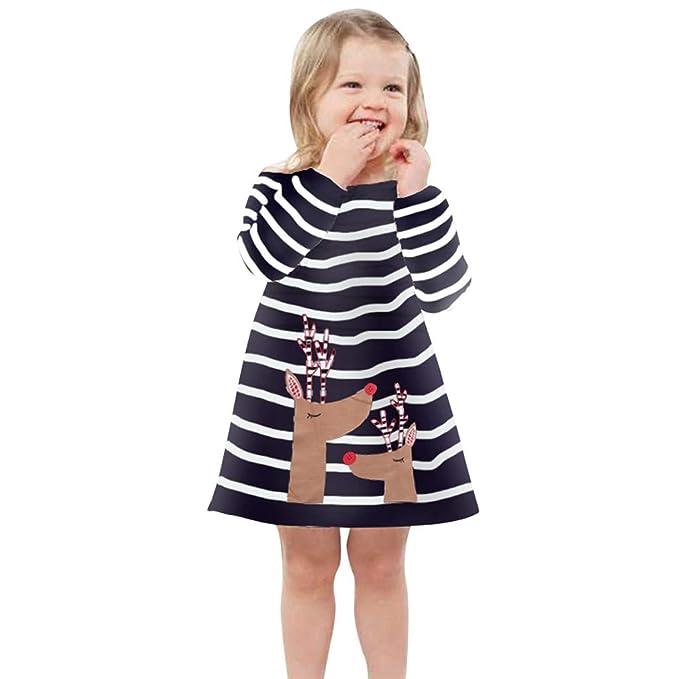 feiXIANG Vestito da Compleanno Abito Fulvo a Strisce Natalizie Abito  Allattamento Ragazze Abiti Principessa Vestiti Natale 4eb1acd01e4