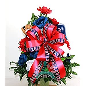 Baseball Boston Red Sox Fan Cemetery Vase Arrangement 52