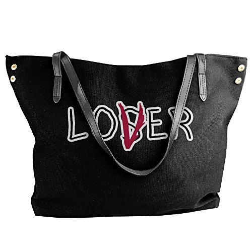 Handbag Lover Bag Women's Large Shoulder Loser Canvas Tote Hobo Black 6v4qgP