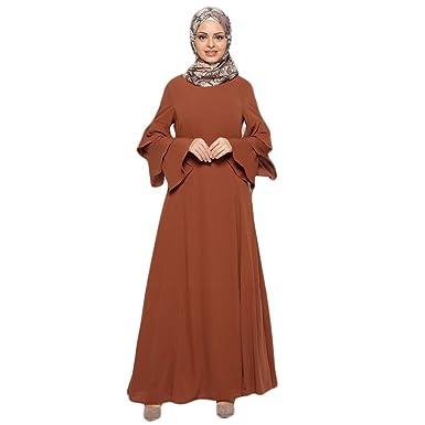 994126925fc943 Muslimische Knöchellang Kleid Tunika mit Rüsche Langarm Casual Maxikleid  Abendkleid Gewand Damen Hochzeit Kaftan Robe Muslim