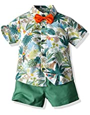 Joycebaby Toddler Baby Boys Clothes Outfits Hawaiian Aloha Short Sleeve Shirt and Pant Set
