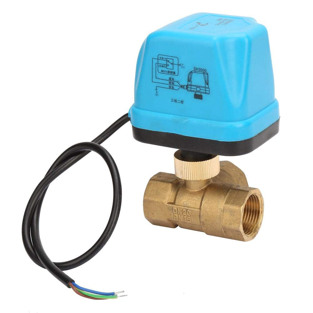 Motorized Ball Valve,AC220V Blue Shell 3 Way Motorized Brass Ball Valve 3 Wire Electric Threaded Ball Valve G3//4