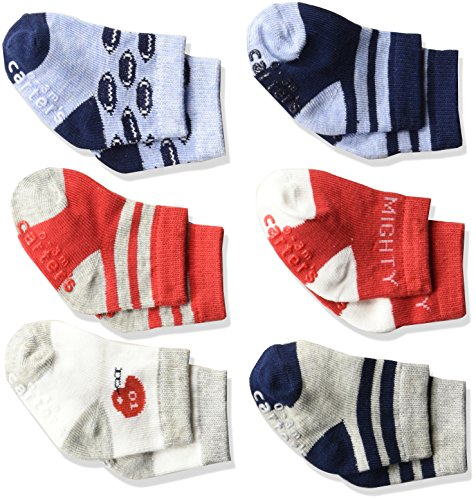 Carter's Baby Boys' Crew Socks (6 Pack), Red/White/Blue, 3-12 MONTHS