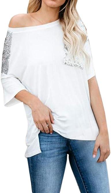 Camiseta de Mujer, Verano Moda Color sólido Lentejuelas Manga Corta Blusa Camisa Cuello Redondo Basica Camiseta Suelto Tops Casual Fiesta T-Shirt Original tee vpass: Amazon.es: Ropa y accesorios