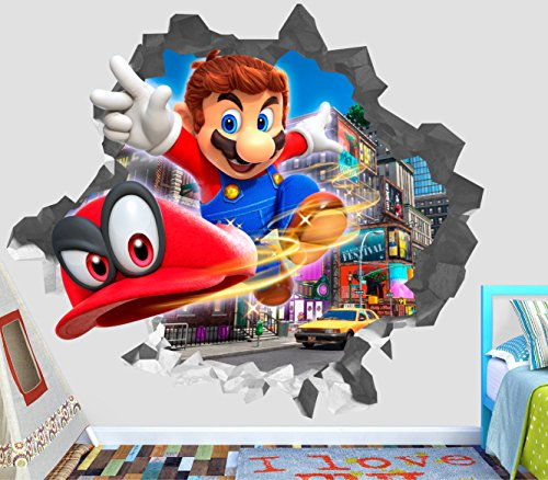 Super Mario Odyssey Flight Wall Decal Smashed 3D Sticker Vinyl Decor Mural Games - Broken Wall - 3D Designs - OP389 (Medium (Wide 30