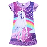 FEESHOW Girls Summer Short Sleeve Rainbow Cartoon Pajamas Night Dress Nighgown Sleepwear Costumes Purple 2-3