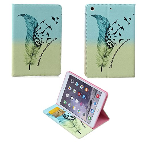 iPad Mini Case, jinli with Kickstand Support for Hand Free Video Film and Read Cover, Printed Ultramodern Fashionable Cute Pattern Painting on the iPad Mini 1/2/3 PU Leather Soft Shell(feather) ()