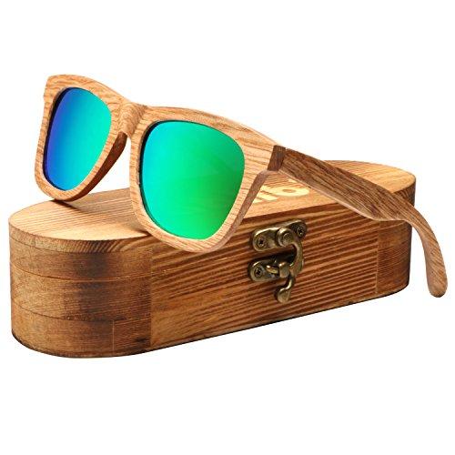 Ablibi Handmade Real Bamboo Wood Sunglasses Polarized Lens With Wood Box (Beech Grey, - Custom Sunglasses Box