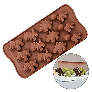 SJ Silicone Chocolate Molds, Chocolate Dinosaur Molds Non-stick Silicone Candy Molds for DIY Chocolate Candy Maker Kitchen Bake-ware Accessories