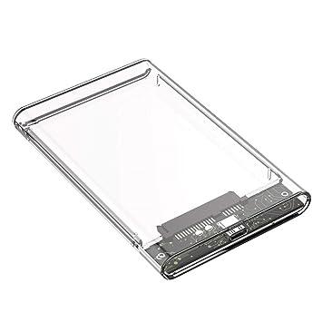 Febelle Caja HDD Transparente de 2.5 SATA 2.0/3.0/3.1 a USB 3.0 ...