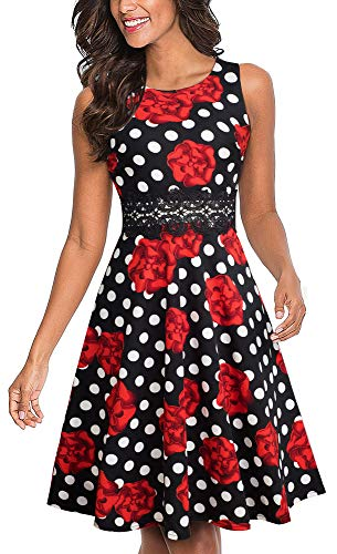 HOMEYEE Women's Sleeveless Cocktail A-Line Embroidery Party Summer Wedding Guest Dress A079 (8, Dots+Flower) -