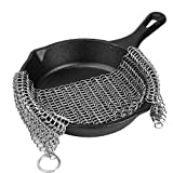Allezola Cast Iron Cleaner - 8x8 inch More Efficient Stainless Steel Chainmail Scrubber (8X8 inch)