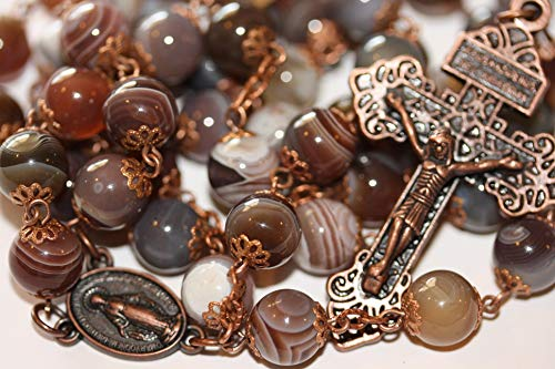 Smooth Bead10mm Botswana Agate Rosary in Copper Made in Oklahoma with Pardon Crucifix