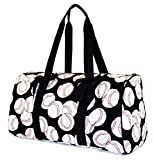 NGIL Baseball Print Quilted Duffle Bag