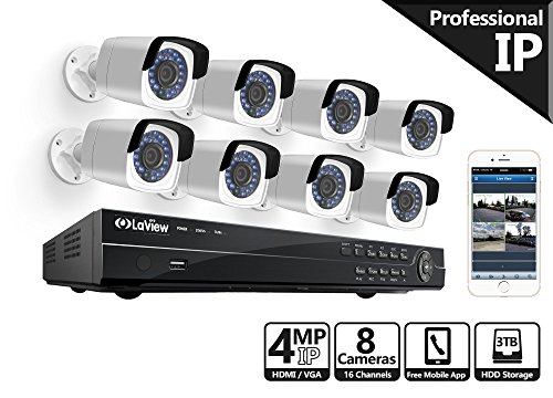 LaView 4-Megapixel (2688 x 1520) 16 CH PoE NVR Security Cameras