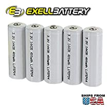 5pk Li-FePO4 Size 14430 Rechargeable 3.2V 400mAh Batteries For Solar Lights Garden Lights , Security System Panels, LED Flashlights FAST USA SHIPPING