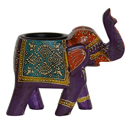 Artistic Wooden Elephant (indiacolors Auspicious Wooden Up trunk Elephant Figurine/statue Candle Stand/Tealight holder Lucky, Feng Shui, Artistic, Decorative, Handcrafted for Home & Office Décor and Gift for all seasons)
