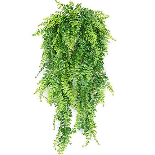 SzJias Artificial Plants Greenery Ferns Vines Fake Ivy Hanging Flowers Vine UV Resistant Plastic Plant for Wall Hanging Baskets Wedding Decor-2Pcs