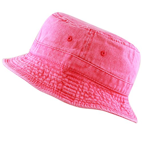 THE HAT DEPOT 300n1505 Pigment Washed Cotton Bucket Hats.13colors (Large/X-Large, Fuchsia) Adult Bucket Hat