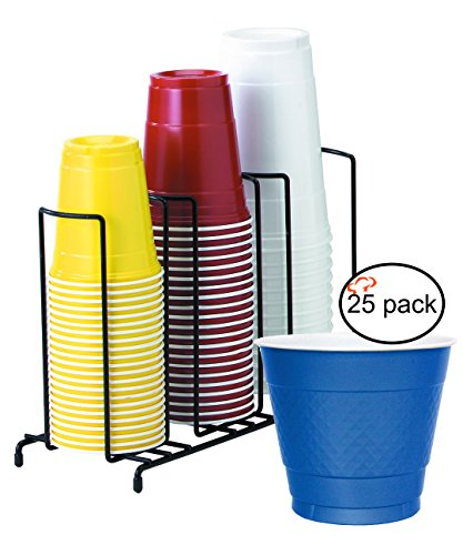 TigerChef TC-20407 3-Section Cup and Lid Organizer Wire Rack with 25 Blue Disposable 9 Oz Plastic Party Cups and Breakroom Organizer Countertop Cup Dispenser