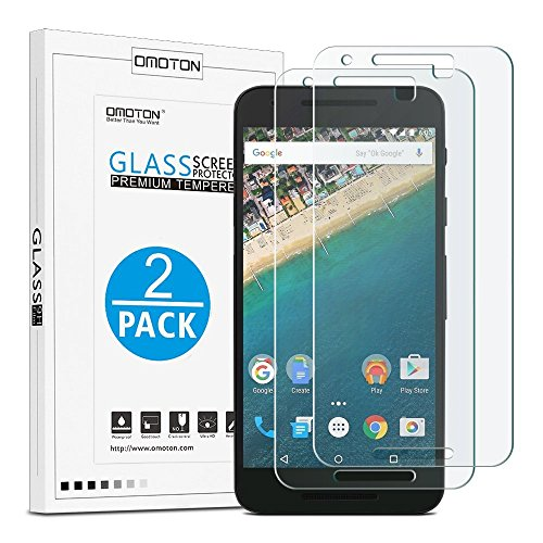 OMOTON Tempered Glass Screen Protector for Google Nexus 5X-5.2Inch,2 Pack (Best Accessories For Nexus 5x)