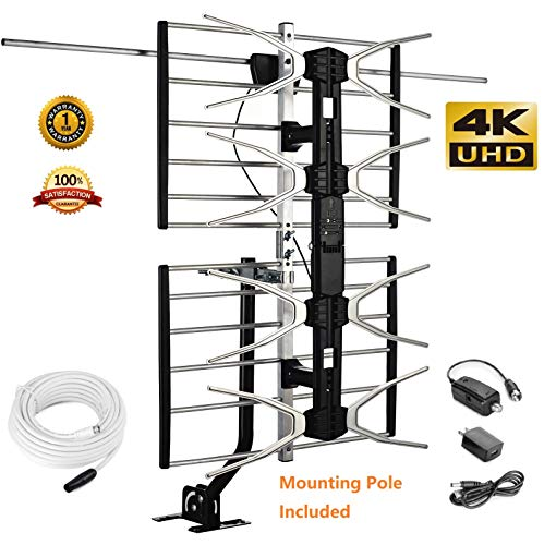 McDuory Digital HDTV Outdoor Amplified Antenna - 150 Miles Range - Mounting Pole & 40FT RG6 Coaxial Cable Included - Optimized Performance in UHF & VHF - Tools Free Installation