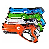MOD Complete Kids Laser Tag Set Gun Toy Blasters W/ Multiplayer Mode, 4 Pack