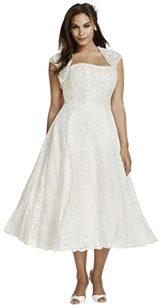 David\'s Bridal Tea-Length Plus Size Wedding Dress with Shrug ...