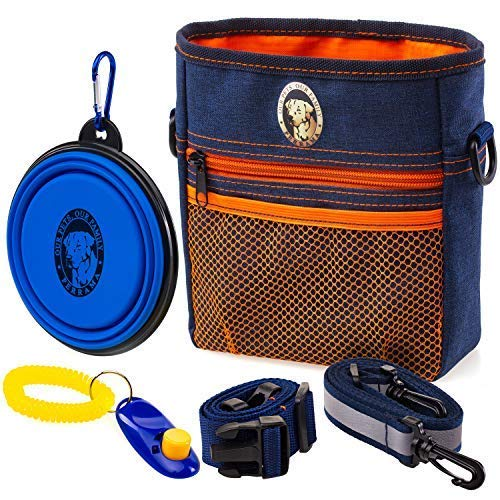 PERRAMA Dog Treat Bag, Training Pouch for Small and Large Dogs with Clicker and Collapsible Food Bowl BPA Free - Pet Treats Tote Bag with Waist and Shoulder Reflective Straps and Belt Clip (Blue)