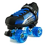 NEW Atom Jackson Rave Outdoor Roller Skate - Available in 5 Vibrant Color Options - Free Devaskation Bracelet - Black/Blue Skate - Blue Pulse Wheels - Size 8