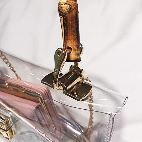 Mujeres La Señoras Ligero Femenino Desmontable Albaricoque Tejido Muñeca Cadena Metal Con Pu Pvc Crossbody Práctico Bolso Almacenamiento Textura Transparente Las Su Y De Mango Impermeable xwFqYAHp