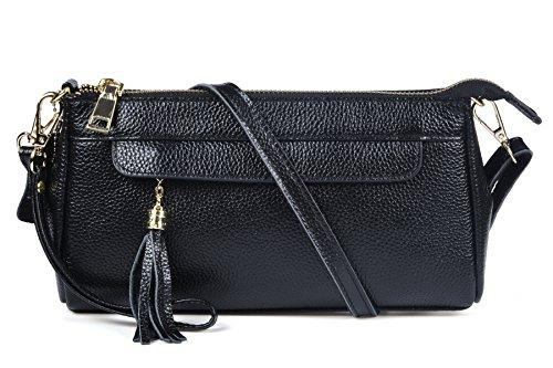 Tassel Evening Purse (Pewter Genuine Leather Wristlet Bag Tassel Phone Mini Crossbody Clutch Purse Wallet Handbag Dexmay (Black))
