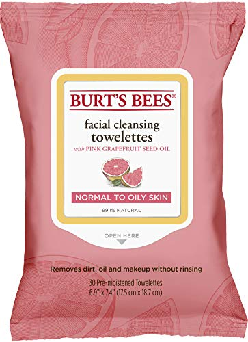 Burt's Bees Facial Cleansing Towelettes for Normal to Oily Skin, Pink Grapefruit, 30 Count ()