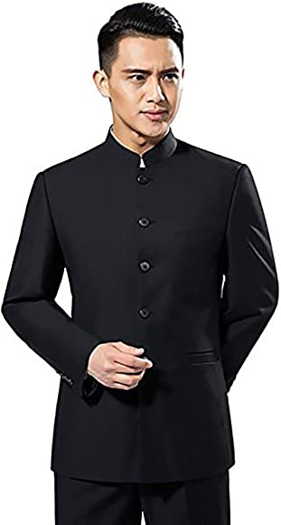 345a5b59c YOUMU Men's Chinese Traditional Uniform Chinese Tunic Suit Two Piece Black