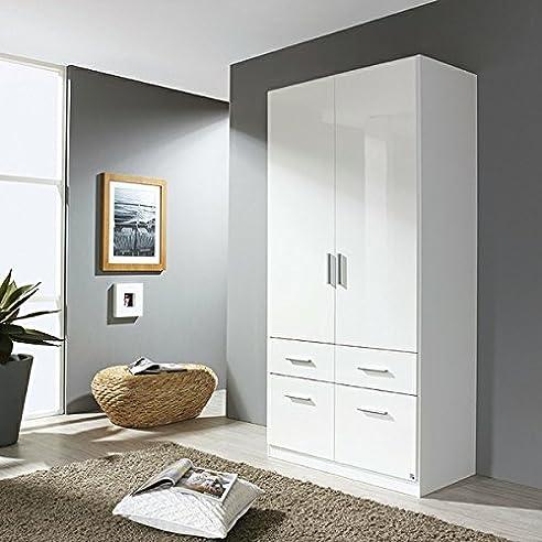 Kleiderschrank hochglanz weiß 2 Türen B 91 cm Schrank ...