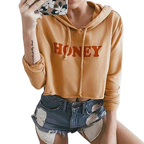 Women's Long Sleeves Letter Print Sweatshirt Crop Top Hoodies (Yellow, L)